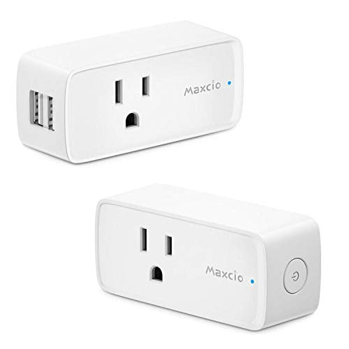 WiFi Smart Plug, Maxcio Smart Plug with 2 USB Ports, Smart Outet Compatible with Alexa Echo Google Home for Voice Control, APP Remote Control with Timer Schedule Function, No Hub Required 2 Packs