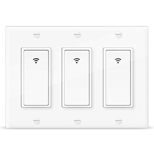 Vaticas 1 100 240V Smart WiFi Light Switch,Compatible with Alexa,Google Home and IFTTT, with Remote Control and Timer,No Hub Required Applicable to Family and Office 3 Gang White