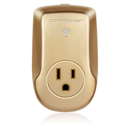 TOPGREENER Smart Wi Fi Powerful Plug with Energy Monitoring, Smart Outlet, 15,A 1800W, No Hub Required, Compatible with Alexa and Google Assistant, Gold