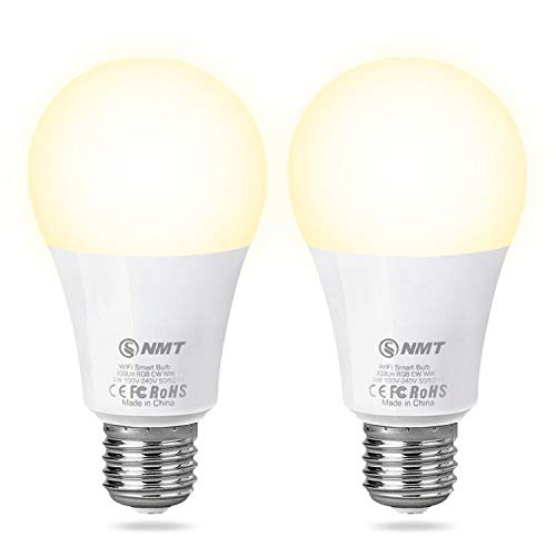 Smart LED Light Bulb E26 Wi Fi CW Warm White and Cool White Home Lamp, Compatible with Alexa and Google Assistant, Cellphone Control APP Dimmable 2700K 6500K 9W, No Hub Required 2 Pack