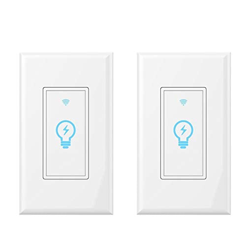 Smart Light Switch, Compatible with Alexa, Google Home IFTTT, App and Voice control, timing function, No Hub required, suitable for 2 3 4 box, neutral wire needs MICMI Smart Switch 2pack