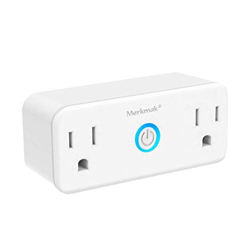 Wifi Smart Plug,Merkmak Wi Fi Mini Dual Outlets Smart Sockets 15A Timing Switch with Energy Monitoring Compatible with Amazon Alexa and IFTTT Google Assistant No Hub Required Smart Plug