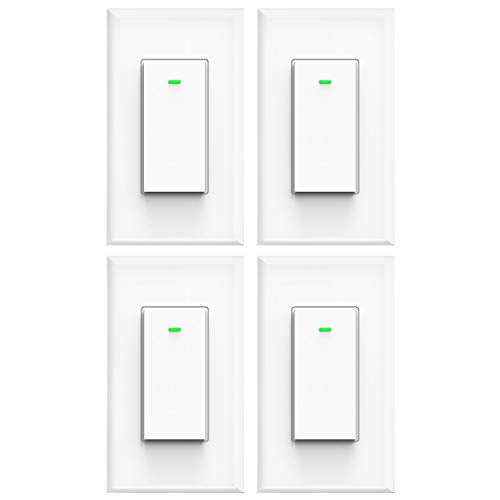 Smart light switch, Works with Alexa, Compatible with Google Assistant, IFTTT, No Hub Required, Smart Home WiFi Wireless, Suit for 1 2 3 4 Gang Switch Box, Neutral Wire Required, White Micmi 4pack