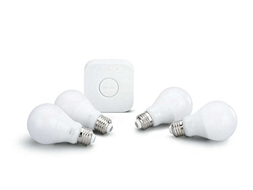 Philips Hue White 3rd Generation A19 Dimmable Smart LED 4 Bulb Kit with 2nd Gen Bridge Renewed