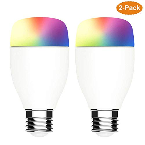 2 Pack Smart LED Light Bulb, E26 7W RGBW Colors Dimmable LED Smart Bulb, No Hub Required Timing Function Remotely Control, Compatible with Alexa Google Home