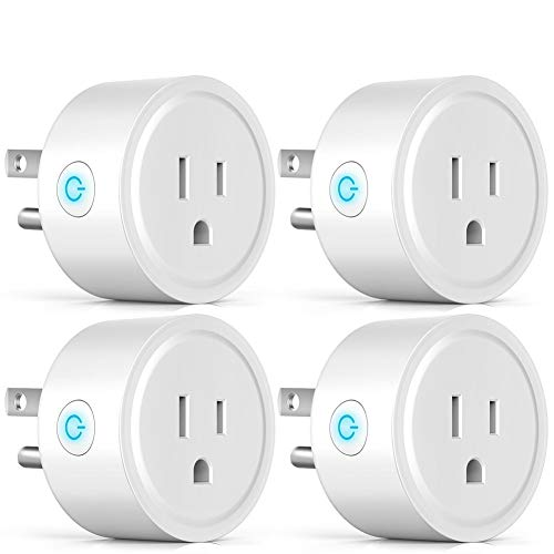 Wi Fi Smart Plug, 4 Pack WILOME Wireless Mini Outlet Compatible with Amazon Alexa and Google Assistant Plug US Socket, No Hub Required, Remote Control Your Devices from Anywhere 10A