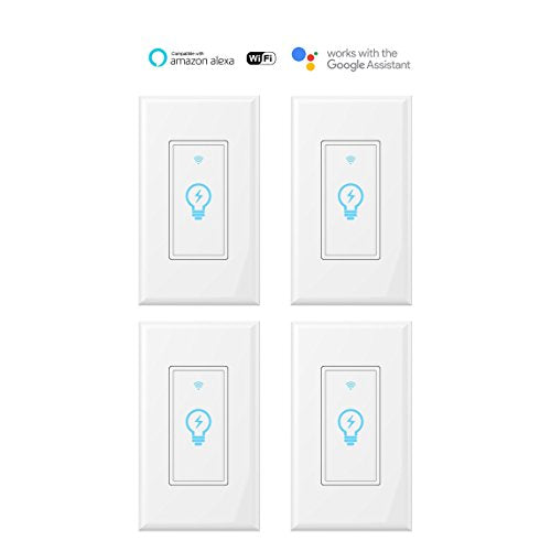 Smart Switch, WiFi Light Switch In wall Wireless Compatible With Amazon Alexa and Google Home, Timing Function, Suit for 1 2 3 4 Gang Switch Box, Neutral Wire Required Micmi, 4pack