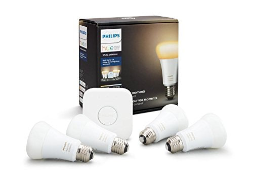 Philips Hue White Ambiance Smart Bulb Starter Kit 4 A19 Bulbs and 1 Hub Compatible with Alexa Apple HomeKit and Google Assistant Renewed