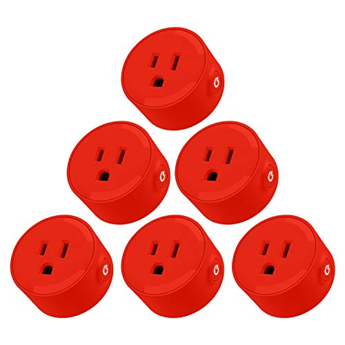 LITEdge Smart Plug, Compatible with Alexa, Wi Fi Accessible Power Outlet, No Hub Needed, Control with App on Phone, Single Socket, More Cool Red Finish, Pack of 6