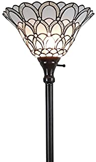 Tiffany Style Torchiere Standing Peacock Floor Lamp 72