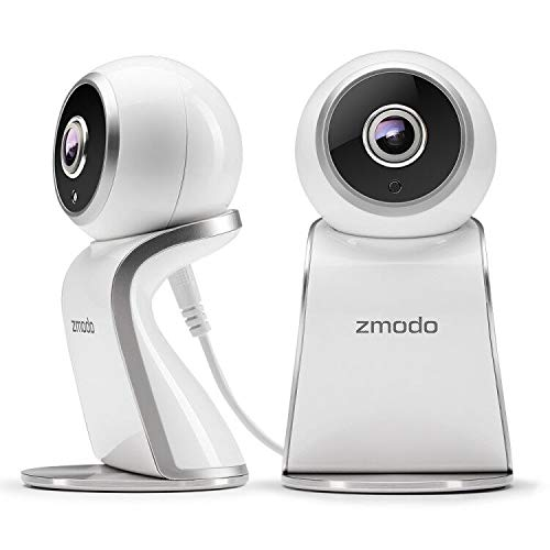 Zmodo Sight 180 Home Security Camera, Full HD 1080p Wireless Indoor IP Camera System with 180 Degree Viewing Angle, Two Way Audio, Night Vision, Motion Detection, Compatible with Alexa 2 Pack