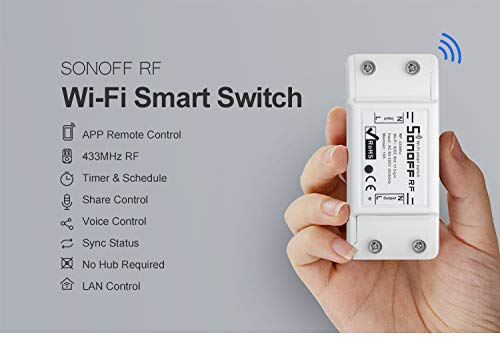 Sonoff RF WiFi Wireless Smart Switch with RF receiver for Smart Home, Compatible with Alexa Google Home Assistant, Compatible with IFTTT, No Hub Required