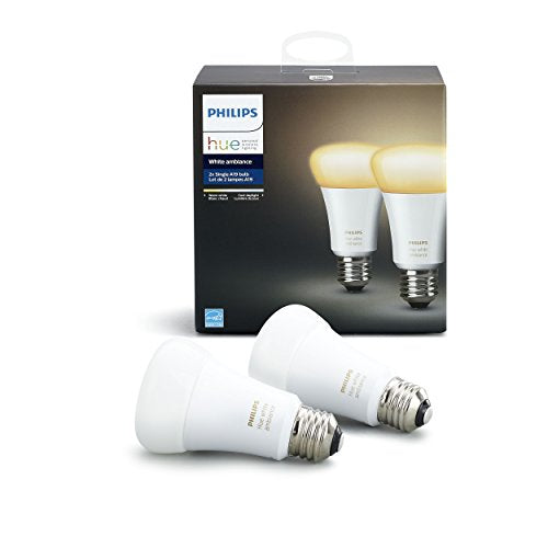 Philips Hue White Ambiance A19 2 Pack 60W Equivalent Dimmable LED Smart Bulbs Hue Hub Required, Works with Alexa, Apple Homekit more , Old Version