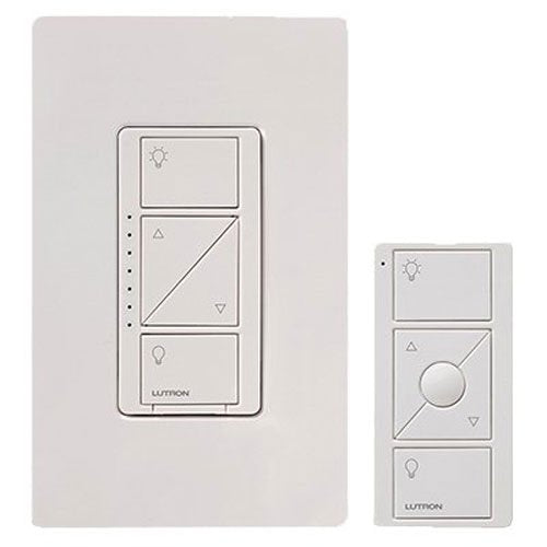 Lutron Caseta Wireless Smart Lighting Dimmer Switch and Remote Kit for Wall Ceiling Lights, P PKG1W WH, White