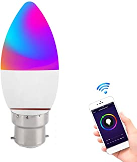 B22 Smart Candle Bulb, 5W-RGBW-WiFi Smart LED Candle Light, APP Remote Control Home Night Light, Can Be Used with Alexa and Google Assistant