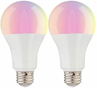 2 Pack Smart WiFi LED Bulb,No Hub Require Compatible With Amazon Alexa and Google Home Wireless Control RGB Warm White to Cool White Changing Lamp Free App A21 E26 6.5W LED Light Equivalent to 60W