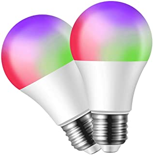 Smart WiFi Light Bulb LED RGB Color Changing, Compatible with Alexa and Google Assistant, Dimmable A19 E26 2700K Multicolor No Hub Required App Remote Control Time Setting (2 Pack)