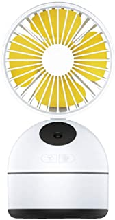 Zzrp Humidifier Fan Humidifier Air Humidifier Small Fan Spray Fan USB Rechargeable Student Desk Small Fan,Yellow