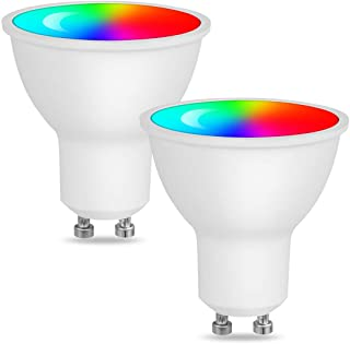 WiFi Smart GU10 LED Spot Light Bulb Compatible with Alexa and Google Home Remote Voice Control,Via Smart Phone APP Dimmable 5W RGB Color Changing Spotlight Multicolored LED Bulbs 2/Pack (UG10)