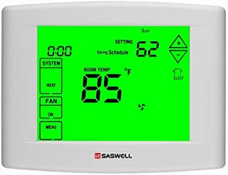 Wifi Thermostats For Home with Smart Wi-Fi 7 Day Programmable, 5 Inches Touch Screen Display, Remote Control, Dual Powered, 3 Heat 2 Cool, Saswell SAS6000UTK-7-Wifi