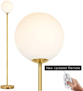 Oneach LED Floor Lamp Frosted Glass Ball Lamp Mid Century Modern Standing Lamp for Living Rooms Tall Pole Light for Bedroom Office with LED Bulb Antique Brass