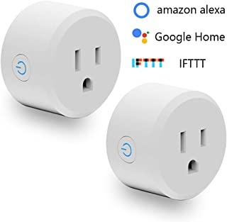 WILNARA Smart Plug Google Home Mini,With Timer Outlet 2Pack Compatible with Alexa/Google Assistant/Smart life No Hub Required Remote Control Home Electronics MAX 10A (Round)