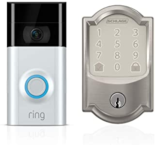 Ring Video Doorbell 2 + Schlage Encode Smart WiFi Deadbolt, Works with Key by Amazon (Keyless Access Only)