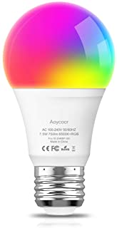 Smart LED Light Bulb RGB Color Changing Light Bulb - Daylight 6500K - 750 Lumens - E26 Base - Dimmable - Works with Alexa Google Home IFTTT - No Hub Required - UL ETL Listed