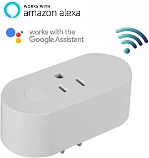 WIFI Smart Plug Switch Socket 15A US Plug Works with Android \ IOS \ Alexa \ Google Home \ IFTTT Moisture-proof, Water-proof and Sun-proof IP44 White