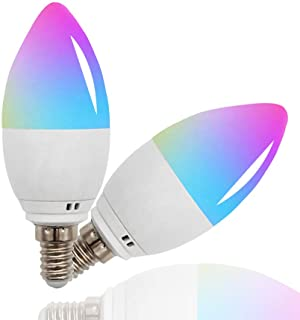 Smart LED Light E12 5W Voice Control via Alexa,Google Home and Siri,Multicolor RGBW Dimmable LED Bulb,Remote Control via Tuya Smart,Wifi LED Light Candelabra Base 40W Equivalent(E12 2pack)