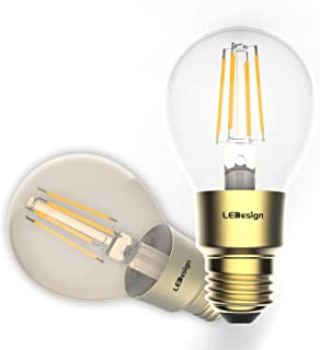 Smart Light Bulb, Smart Wi-Fi LED Bulb Glass Vintage Edison Light, A19, Dimmable, Soft White 2700K, No Hub Required, Compatible with Alexa and Google Assistant, 2 Pack