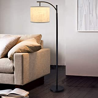 DLLT Led Floor Lamp,Modern Tall Floor Lamp Farmhouse Industrial Light 8W Classic-Arc With Hanging Floor Lamp Drum Shade,Reading Standing Lamp For Living Room,Bedroom,Office,Study Room,E26 Bulb-Warm Li