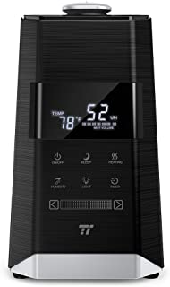 TaoTronics TT-AH008 Ultrasonic Warm & Cool Mist Humidifiers for Bedroom Large Room, External Humidity Sensor, Touch Control Panel-6L/1.6 Gallon, US 110V, Black