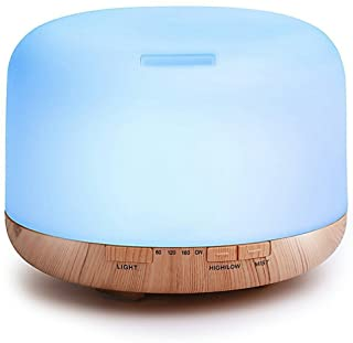 Xinjiahe 500ml Ultrasonic Air Humidifier Mini Wood Moisture Purifier (Up to 16H Use, Mist Control, Waterless Auto Shut-Off, 4 Timer Settings, 7 Color LED),A