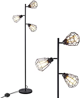 Anbomo LED Industrial Floor Lamp, 3 Head Torchiere Lamp Fixture for Living Room, Rustic Floor Lamp with 3 Vintage Edison Light Bulbs
