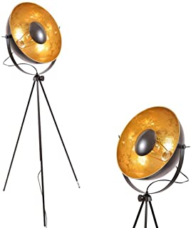 Modern Designer Reflector Studio - Black Gold Industrial Vintage Metal Adjustable Satellite Tripod Floor Lamp Mid Century Floor Lights For Bedroom Living Room - E26 Edison Bulb No Included