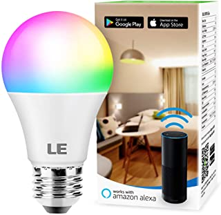 LE WiFi Smart LED Light Bulbs, Color Changing Lights, RGBW 2700K-6500K, Compatible with Alexa & Google Home, Dimmable with App, No Hub Required, 60 Watt Equivalent, A19 E26