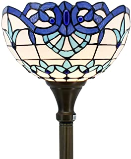 Tiffany Style Torchieres Floor Lamp Table Desk Standing Lighting White Blue Baroque Wide 12 Tall 66 Inch Stained Glass Lampshade for Living Room Bedroom Antique Set S003B WERFACTORY