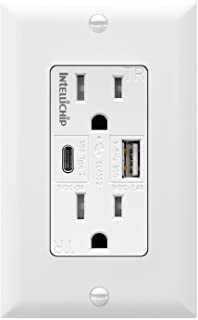 TOPGREENER TU21558AC 5.8A Ultra-High-Speed USB Type C/A Wall Outlet Charger, 15A TR Receptacle, Compatible with iPhone XS/MAX/XR/X/8/7/6, iPad Also Samsung Galaxy S9/S8/S7/S6 and More, White