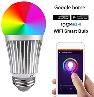Show Time?WiFi Smart Light Bulb, Dimmable LED Multicolor Bulbs60W Equivalent RGB Bulb Smart Device and Voice Control Compatible with Alexa,B22