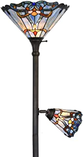 Bieye L10686 Baroque Tiffany Style Stained Glass Torchiere Floor Lamp Double Lit with 14 inch Wide Blue Shade and 6 inch Wide Rotatable Shade for Working Reading Living Room Bedroom, 71 inch Tall