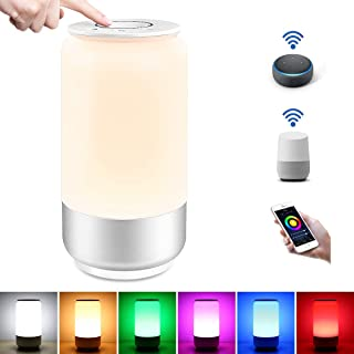 WiFi Smart Table Lamp for Bedrooms, LE LampUX Touch Bedside Lamp Works with Alexa Google Home, Modern Dimmable LED Nightstand Lamp, White & RGB Color Changing Night Light for Kids Room, Living Room