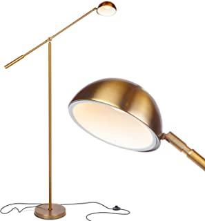 Brightech Gabriel - LED Reading and Craft Floor Lamp, for Living Rooms, Bedrooms & Offices - Classy, Modern Standing Light for Tasks- Adjustable Arm, Omnidirectional Head - Antique Brass