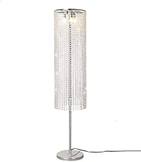Surpars House Raindrop Crystal Floor Lamp On/Off Switch in Line,Silver