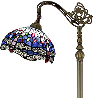 Tiffany Style Reading Floor Lamp Blue Stained Glass with Crystal Bead Dragonfly Lampshade 64 Inch Tall Antique Arched Base for Bedroom Living Room Lighting Table Set Gifts S004 WERFACTORY