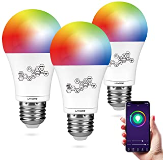 Smart WiFi Light Bulb, Lyhope RGBCW Color Changing Dimmable LED Bulbs, E26 60W Equivalent, Compatible with Amazon Alexa and Google Assistant, No Hub Required (3 Pack)