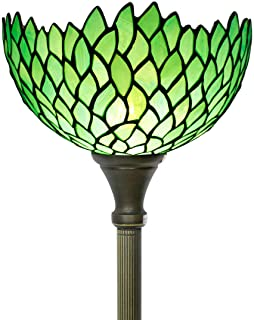 Tiffany Style Torchiere Lamp Stained Glass Floor Standing Light W12H66 Inch Green Wisteria Lampshade for Living Room Bedroom Bookcase Coffee Table Antique Set S523 WERFACTORY