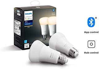 Philips Hue White 2-Pack A19 LED Smart Bulb, Bluetooth & Zigbee compatible (Hue Hub Optional), voice activated with Alexa (Renewed)