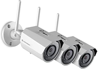 3-Pack Amcrest ProHD Outdoor 3-Megapixel (2304 x 1296P) WiFi Wireless IP Security Bullet Camera - IP67 Weatherproof, 3MP (1080P/1296P), IP3M-943W (White)
