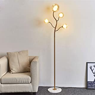 Surpars House Modern Floor Lamp with 4 Glass Globe Shades, Brass/Golden